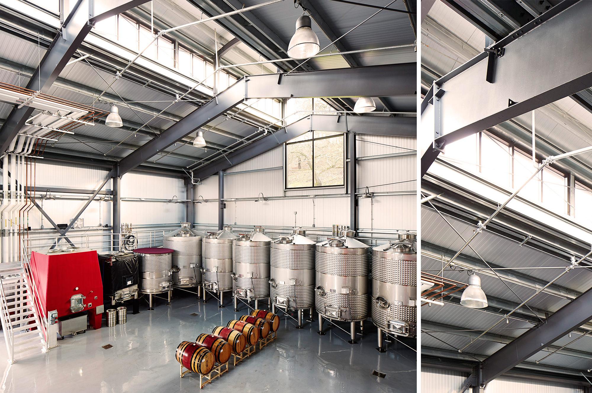 Interior of wine making room at B Cellars Winery