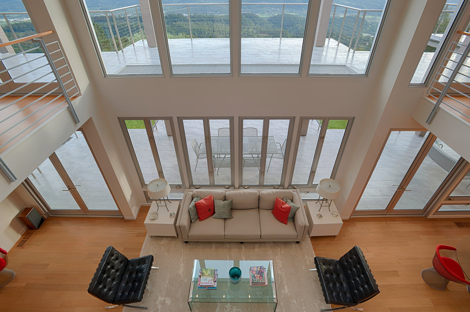 Large windows overlooking Vineyards