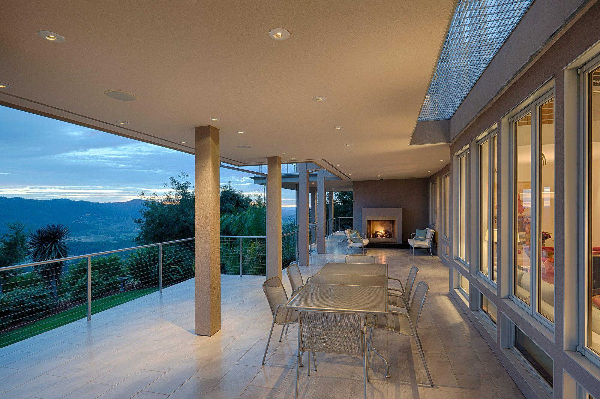 Outdoor patio overlooking Napa Valley