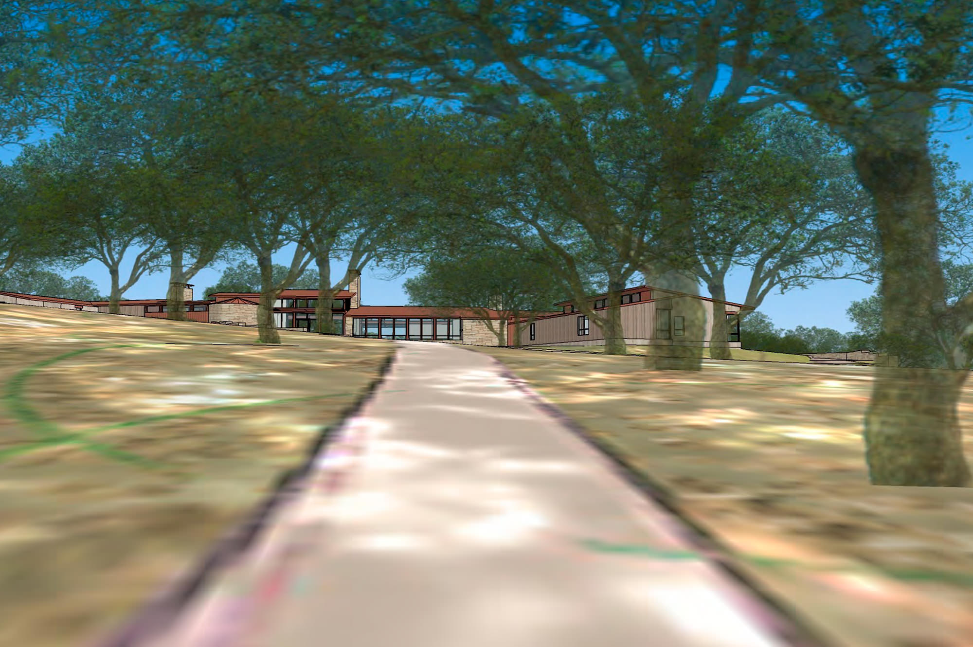 Rendering of driveway to custom home