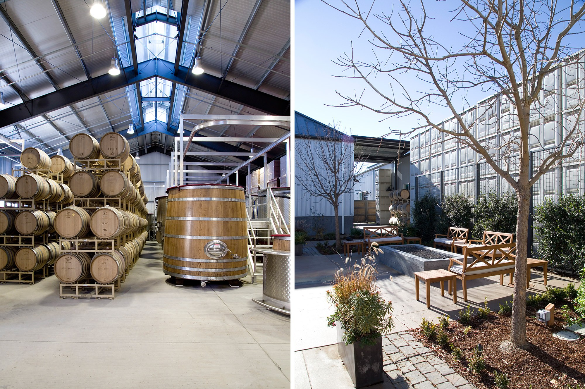 Wine storage and outdoor patio at Kosta Browne Winery