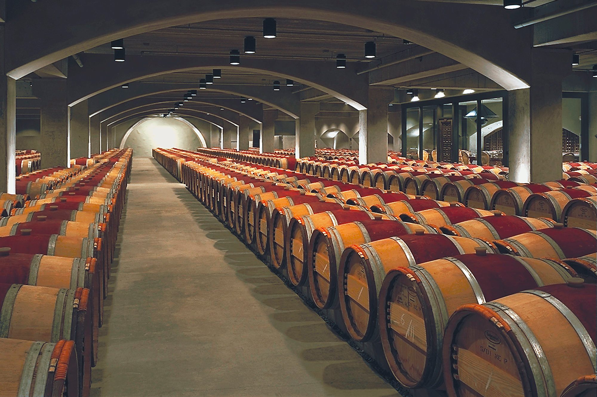 Wine barrel storage room at Robert Mondavi Winery