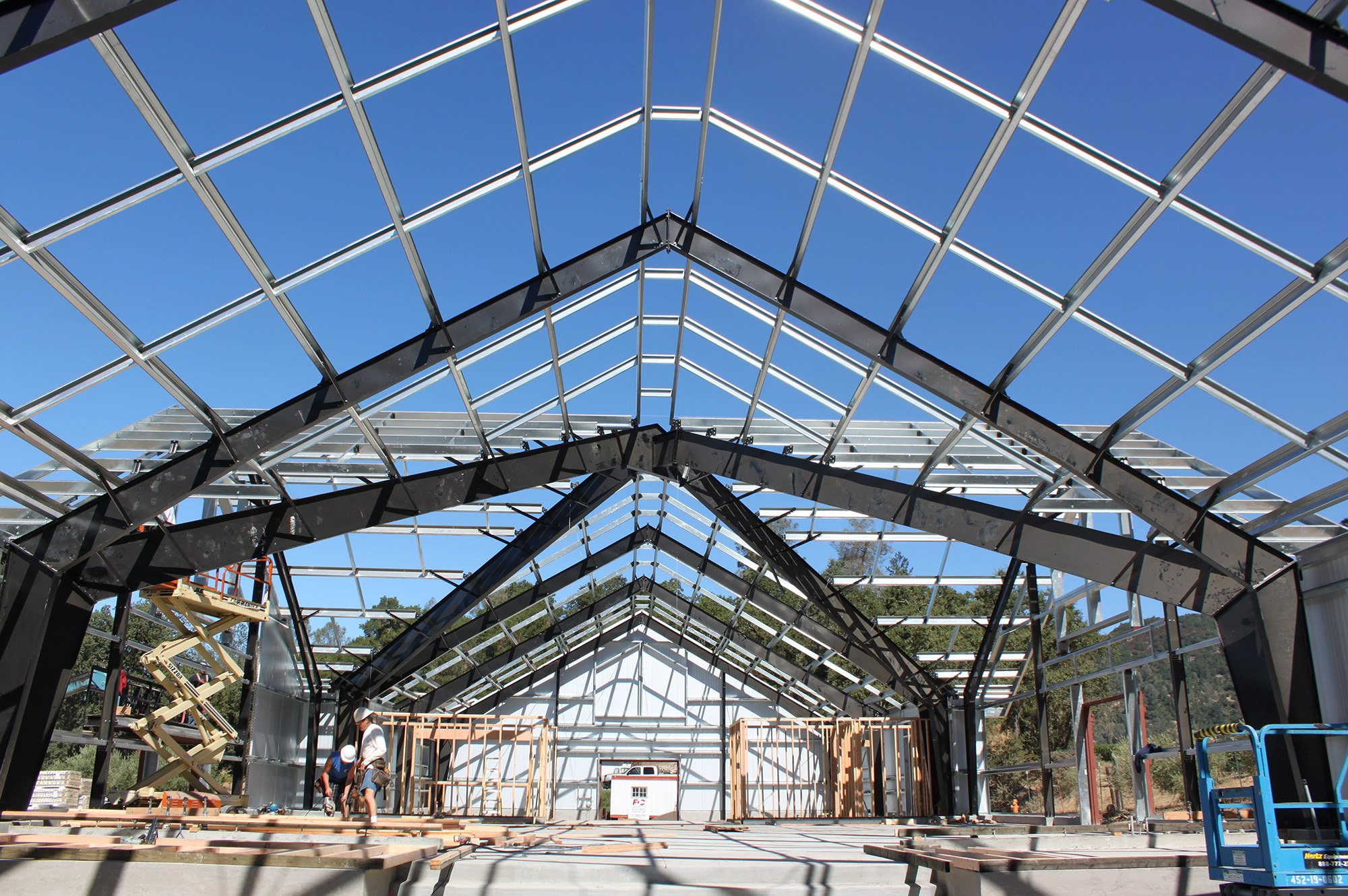 Construction of metal framed winery