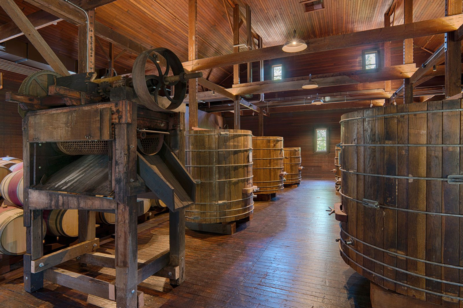 Antique crush pads and winery equipment