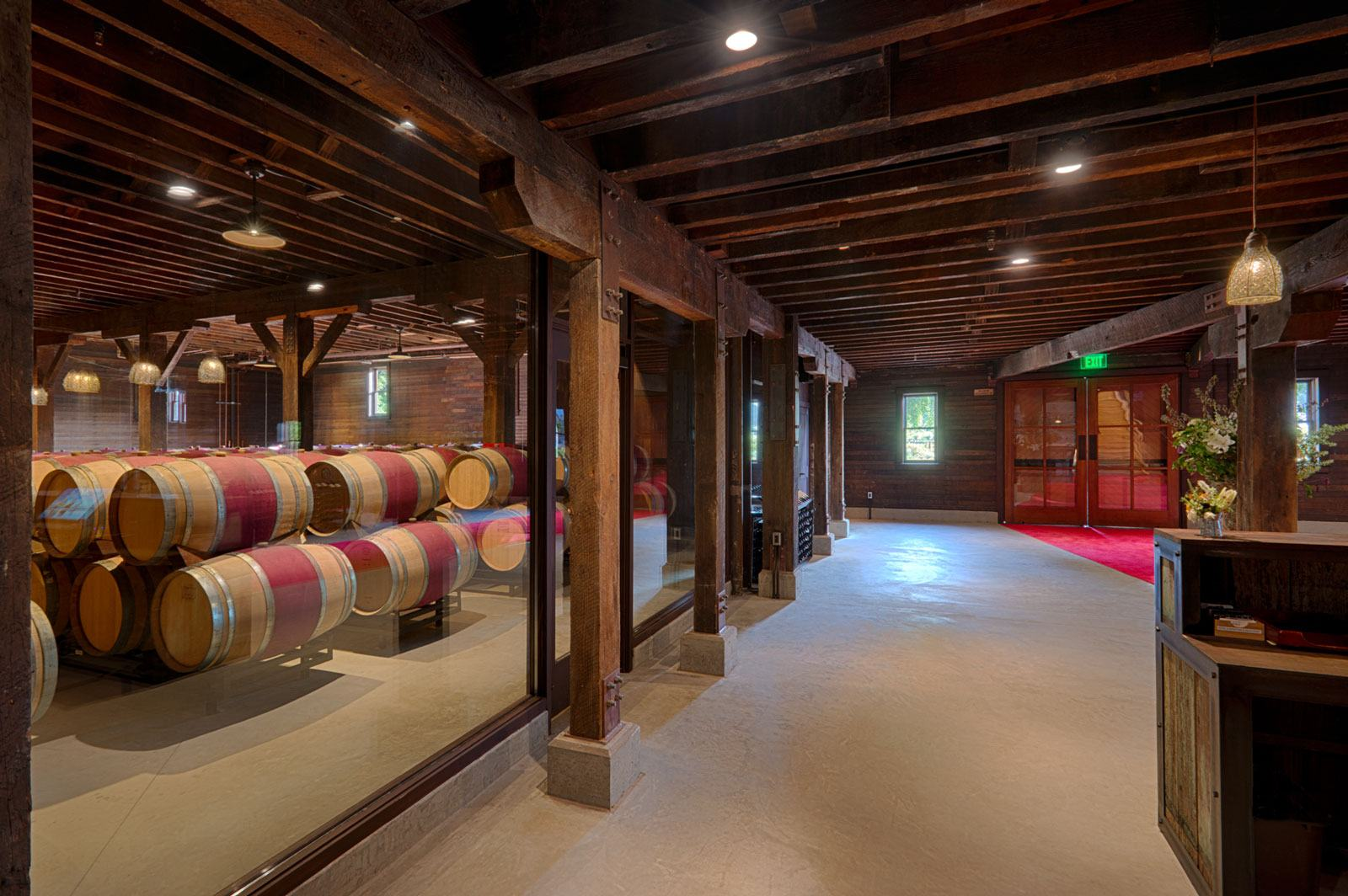 open view of winery tasting room