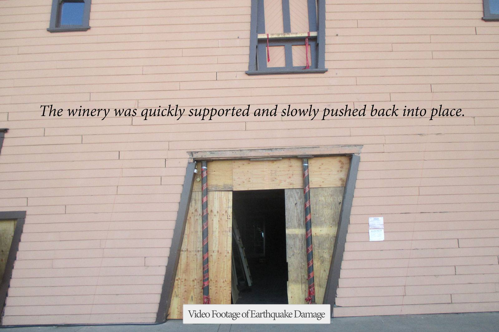 winery construction following earthquake damage