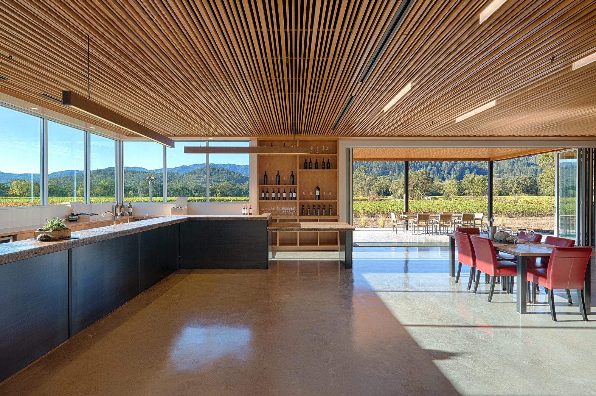 Wine tasting room overlooking vineyards