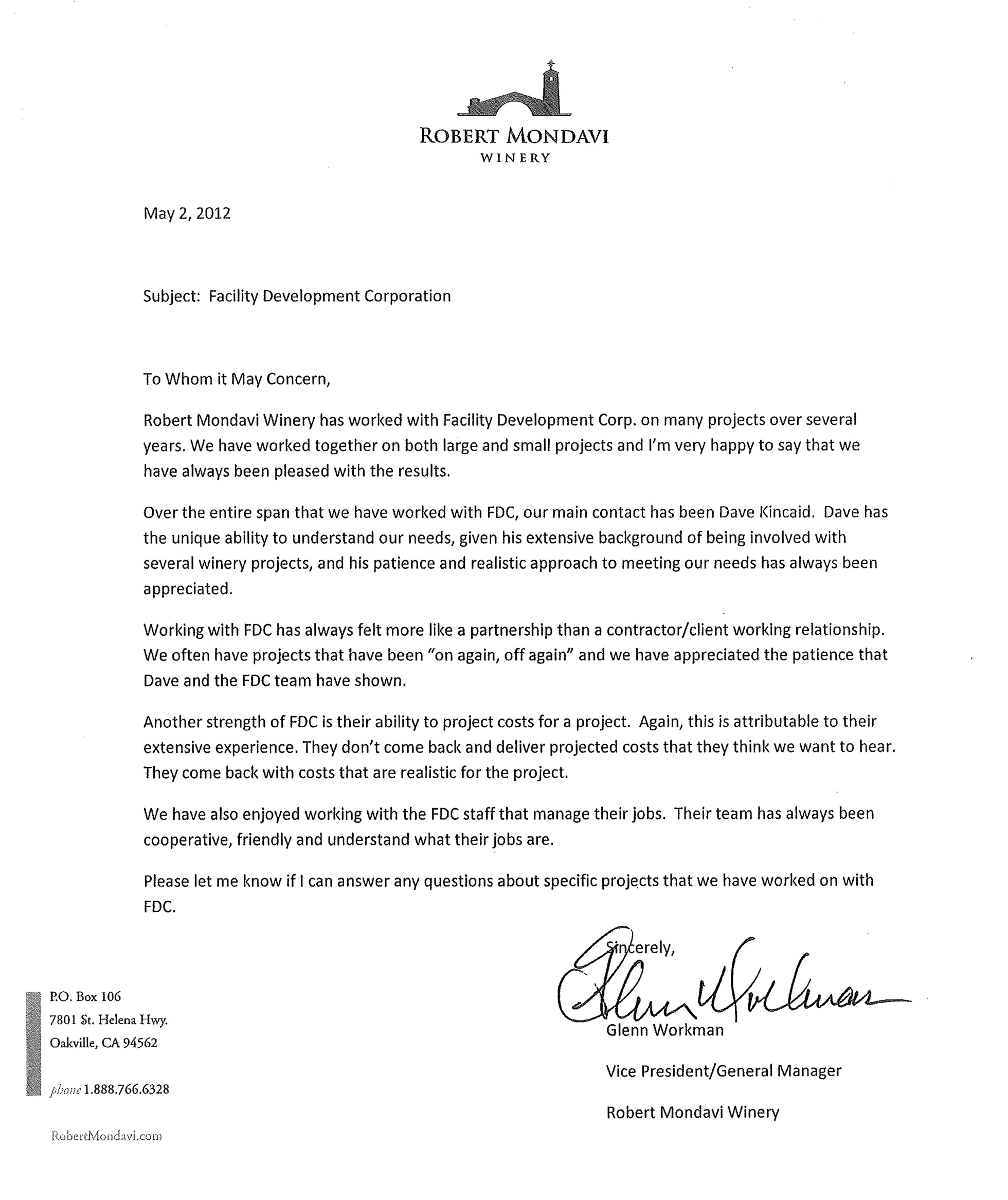 Robert Mondavi Winery letter of recommendation for FDC