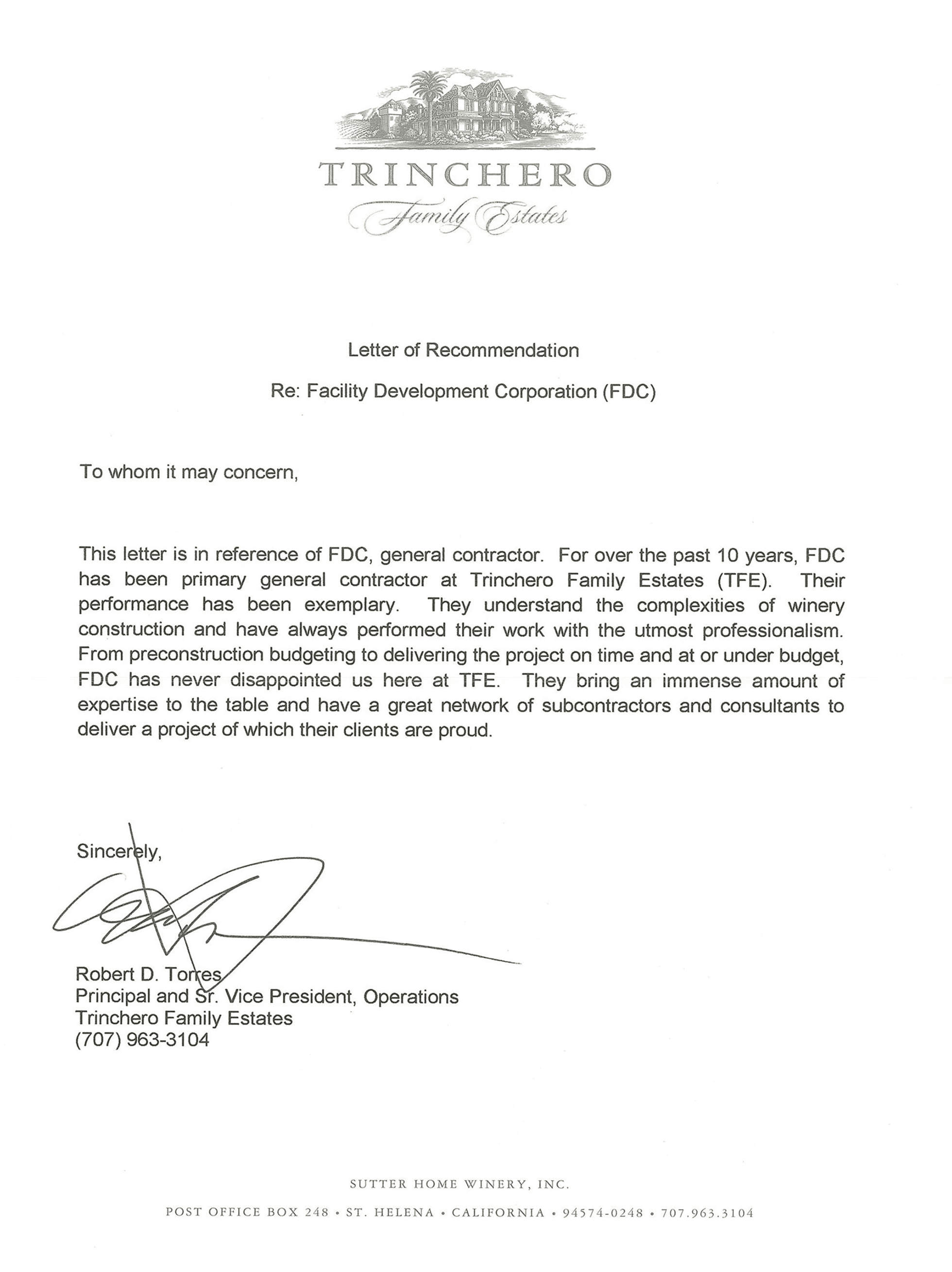Letter of recommendation for Facility Development Company