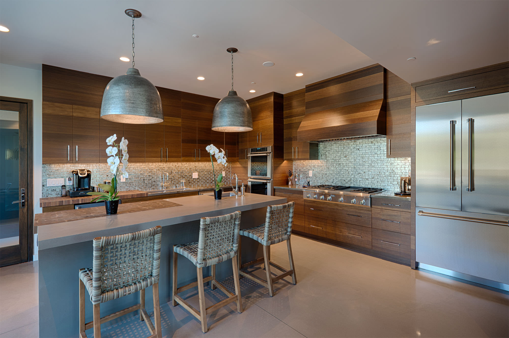 Modern kitchen with wood cabinets