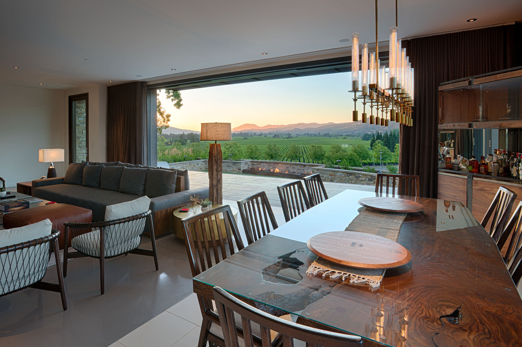 Dining area overlooking vineyard