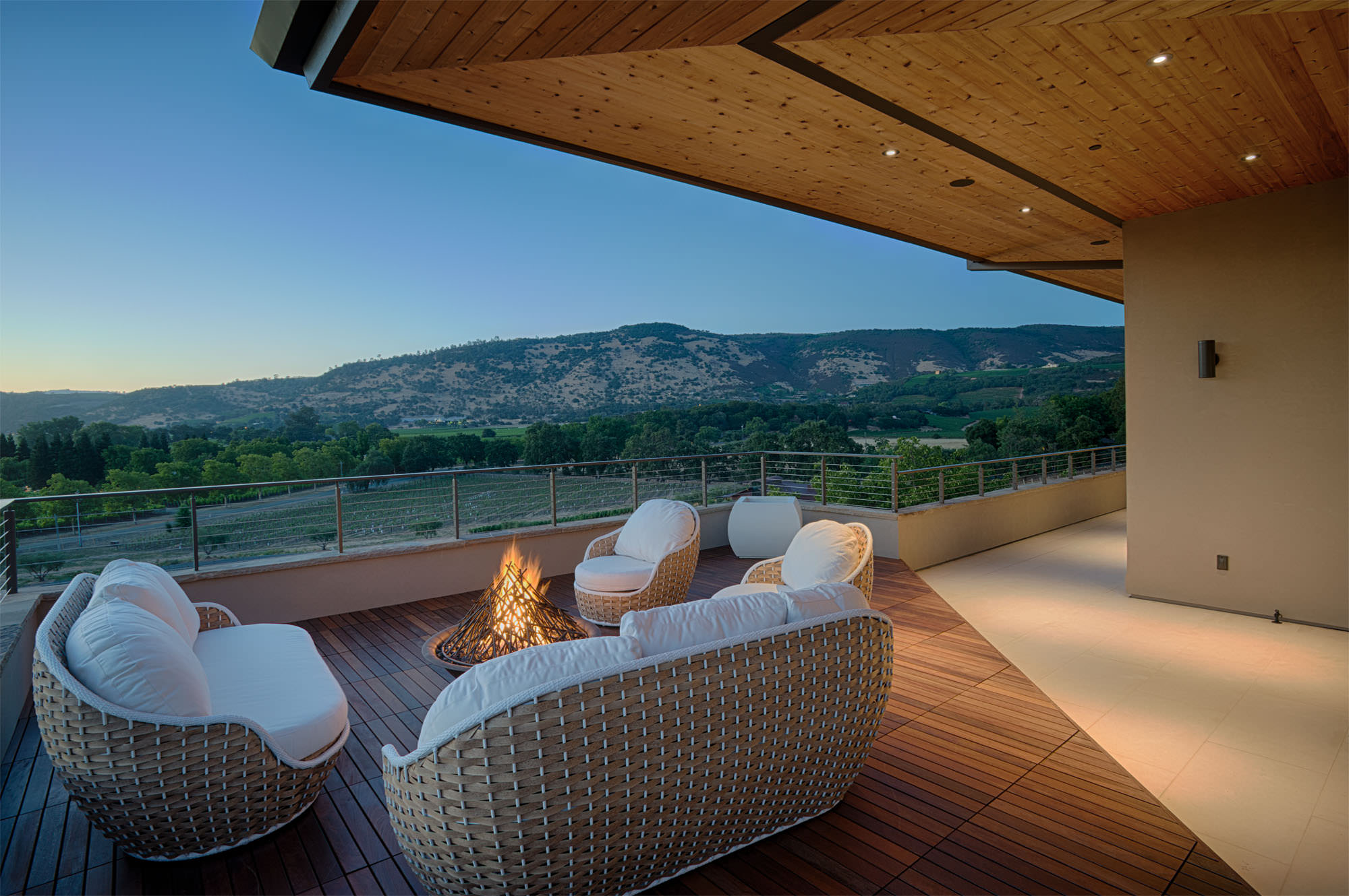 Patio overlooking vineyards