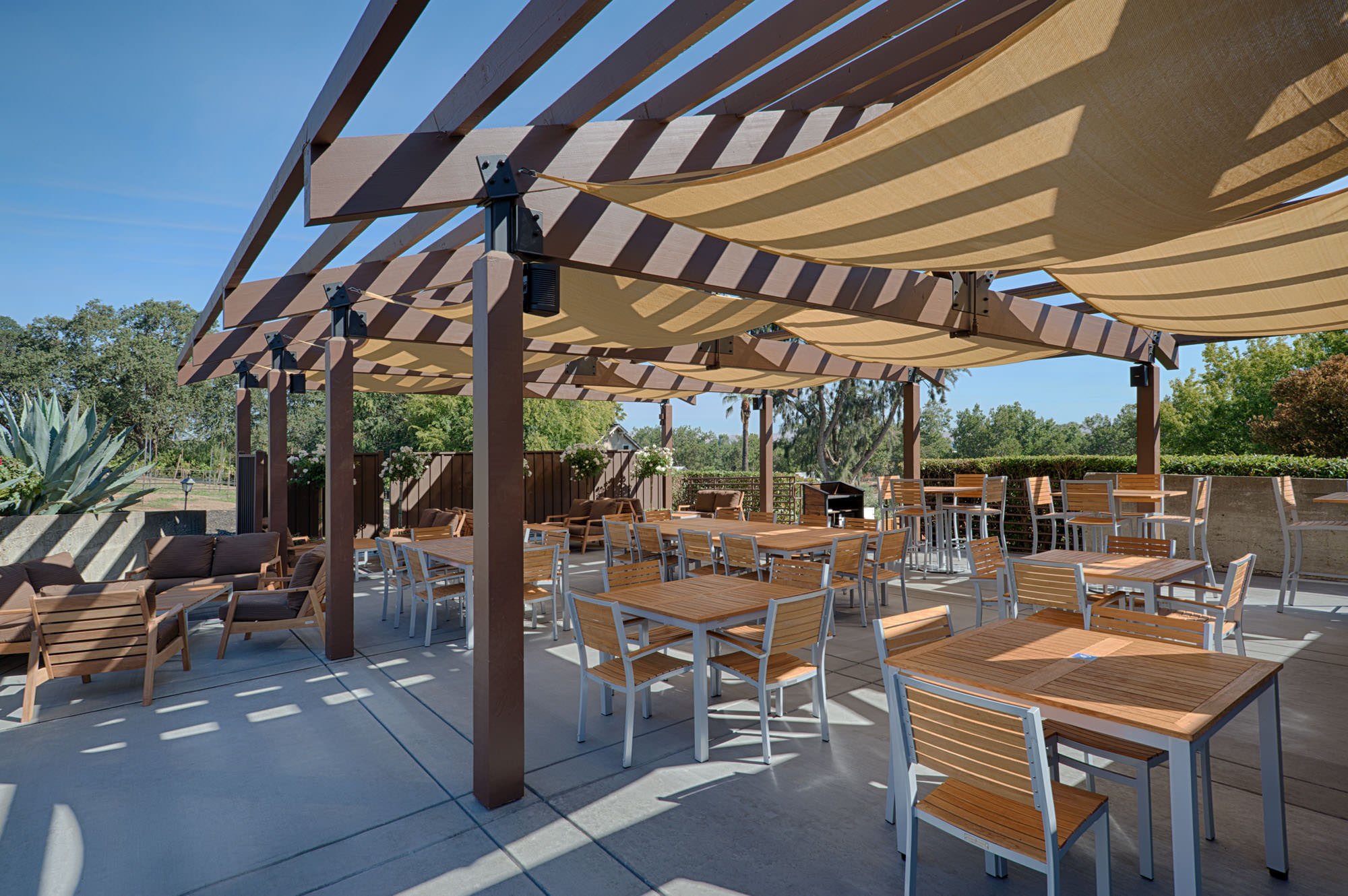 Outdoor Terrace and Shade at Winery
