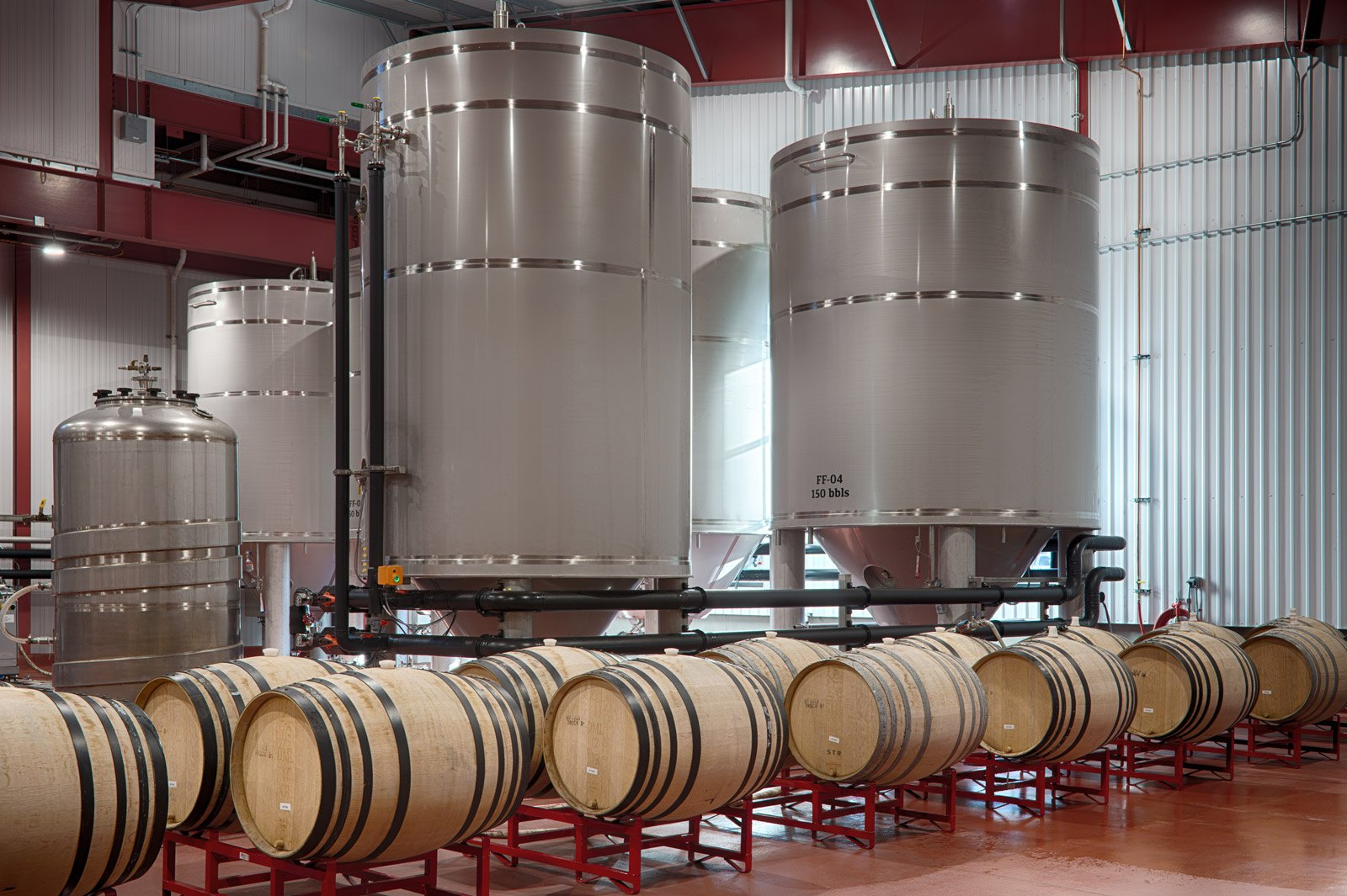 tanks and barrels at funky brewery